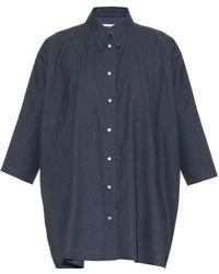 MM6 by Maison Martin Margiela Chambray-Cotton Oversized Shirt - Lyst