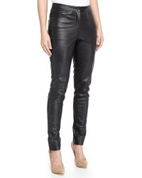 Monique Lhuillier Leather Slim Pants - Lyst