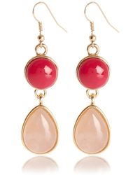 River Island Pink Semiprecious Double Stone Drop Earrings - Lyst