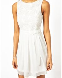 Tfnc Dress with Lace Bodice and Bow Waistband - Lyst