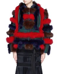 Sacai Fox Fur Wool Felt Hooded Coat - Multicolour