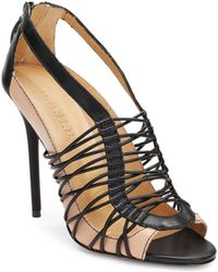 L.a.m.b. Raivyn Leather Colorblock Strappy Heeled Sandals - Lyst