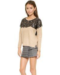 Joa Sweater with Embellished Yoke  Camel - Lyst