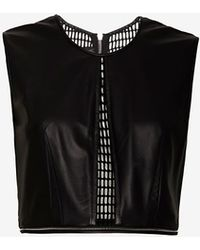 Yigal Azrouel Exclusive Leathervelvet Mesh Crop Top - Lyst