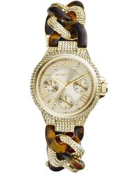 Michael Kors Mini Golden Stainless Steel Twisted Camille Threehand Glitz Watch - Lyst