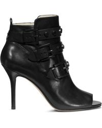 Michael Kors Bryn Open-Toe Leather Ankle Boot - Lyst