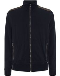 Michael Kors Leather Trim Zipped Sweater - Lyst