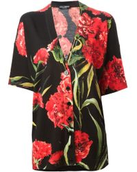 Dolce & Gabbana Carnations Print Cardigan - Lyst