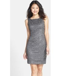 Adrianna Papell Sequin Lace Dress - Lyst