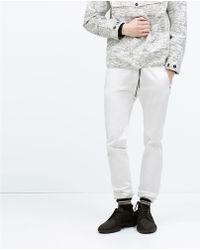 Zara Jogging Pants white - Lyst
