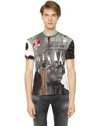 Dolce & Gabbana Crowd Printed Cotton Henley T-Shirt - Lyst