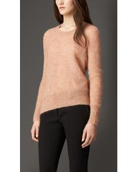 Burberry Mohair Blend Scoop Neck Sweater - Lyst