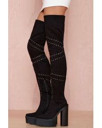 Nasty Gal Jeffrey Campbell Notorious Suede Thigh High Boot - Lyst