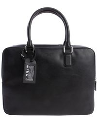 Giorgio Armani Pre-owned Black Leather Top Handle Briefcase - Lyst