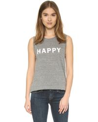 Textile Elizabeth and James | Happy Dean Tank - Heather Grey/white | Lyst