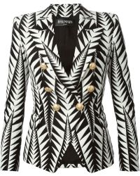 Balmain Printed Blazer With Embossed Buttons - Lyst