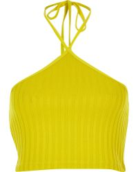 River Island Yellow Ribbed Halter Neck Crop Top - Lyst