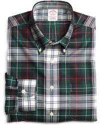 Brooks Brothers Non-iron Regular Fit Green Plaid Sport Shirt - Lyst