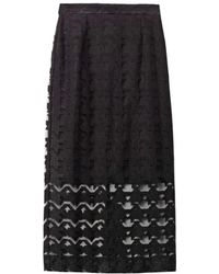 Freda Embroidered Hound's-tooth Pencil Skirt - Black