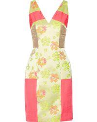 Matthew Williamson Paneled Neon-Jacquard, Chiffon And Shell Mini Dress - Lyst