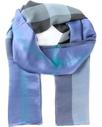 Burberry Checked Scarf blue - Lyst