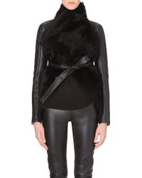 Gareth Pugh Draped Leather and Shearling Jacket - Lyst
