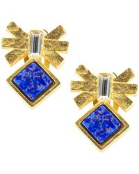 Gerard Yosca | Mesa Eagle Lapis And Swarovski Crystal Stud Earrings | Lyst