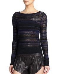 Rag & Bone Cassie Striped Perforated Sweater - Lyst