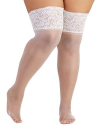 Leg Avenue - Stay In Lace Thigh Highs In White - Plus Size - Lyst