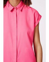 Missguided Ellessa Short Sleeve Shirt Hot Pink - Lyst