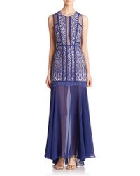BCBGMAXAZRIA Leonie Lace & Tulle Gown blue - Lyst