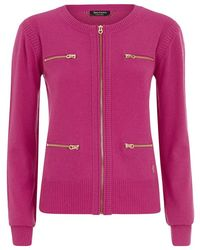Juicy Couture Wool And Cashmere Zip Cardigan - Lyst
