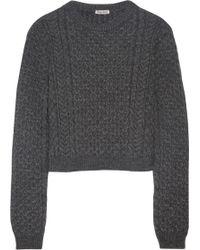 Miu Miu Cropped Cable Knit Sweater - Lyst
