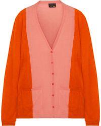 Fendi Color-Block Cashmere Cardigan pink - Lyst