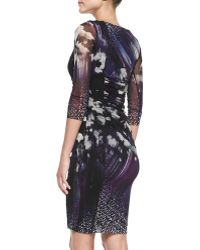 Jean Paul Gaultier 34sleeve Floral Ruched Dress - Lyst