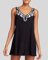 Shoshanna Black Rayon Graphic Embroidery Trapeze Dress Swim Cover Up - Lyst