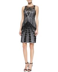 Sue Wong Sleeveless Illusion-neck Cocktail Dress - Lyst