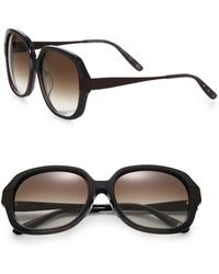 Bottega Veneta Textured 57mm Round Sunglasses - Lyst