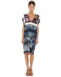 Jean Paul Gaultier Striped Vneck Dress - Lyst