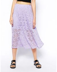 Asos Midi Skirt in Lace - Lyst