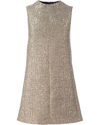 Saint Laurent Tweed Trapeze Mini Dress - Lyst