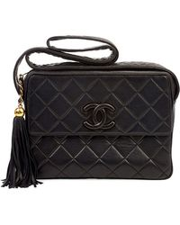 Chanel Pre-Owned Black On Black Bag - Lyst