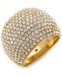 Michael Kors Pave Dome Ring Goldclear - Lyst