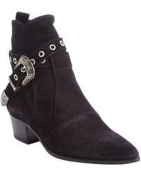 Saint Laurent Black Suede Poined Toe Buckle Detail Ankle Boots - Lyst