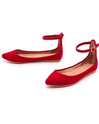 Joie Temple Ankle Strap Flats  Red - Lyst