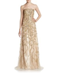 Carolina Herrera Tortoise Cage Embellished Silk Gown - Lyst
