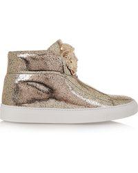Versace Metallic Textured-Leather Sneakers - Lyst