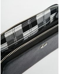 Fred Perry - Zip Top Purse With Monochrome Check Lining - Lyst