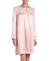 Oscar de la Renta Charmeuse Lace Detailed Nightgown - Lyst