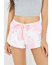 Forever 21 Rose Print Flannel Pj Shorts - Lyst